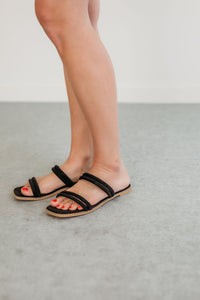 Square Toe Black Strappy Sandals
