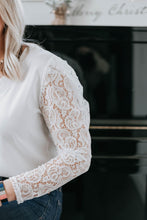 Load image into Gallery viewer, White V-Neck Top with Lace Sleeve