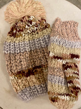 Load image into Gallery viewer, Metallic Shimmer Striped Knit Beanie - Blush