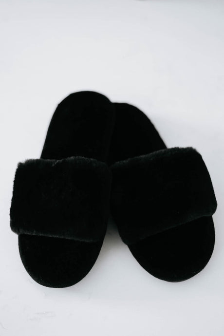 Fuzzy Slipper Slides, Black