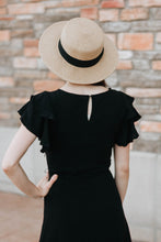 Load image into Gallery viewer, Black Belted Flutter Sleeve Midi Dress - The Julia