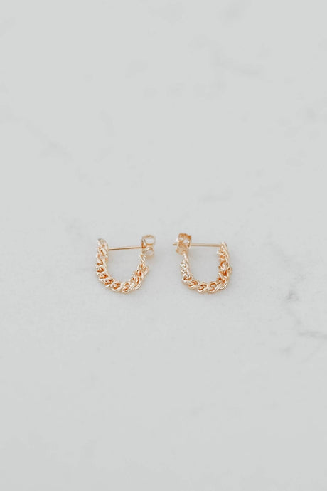 14k Chain Dangle Stud Earrings