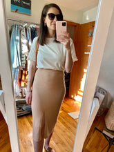 Load image into Gallery viewer, Knit High-Waist Midi Skirt, Tan
