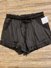 Load image into Gallery viewer, Ruffle Satin Shorts - Black