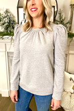 Load image into Gallery viewer, GREY PUFF SLEEVE SWEATSHIRT TOP