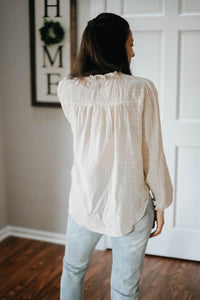 Swiss Dot-button Peasant Blouse