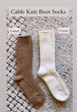 Load image into Gallery viewer, Essential Cable Knit Boot Sock, Cream