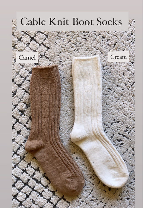 Essential Cable Knit Boot Sock, Cream