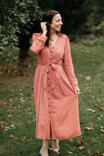 Load image into Gallery viewer, Dusty Rose Button-up Long Sleeve Midi Dress - The Golda