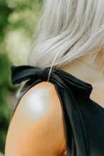 Load image into Gallery viewer, Black Bow One-Shoulder Swimsuit