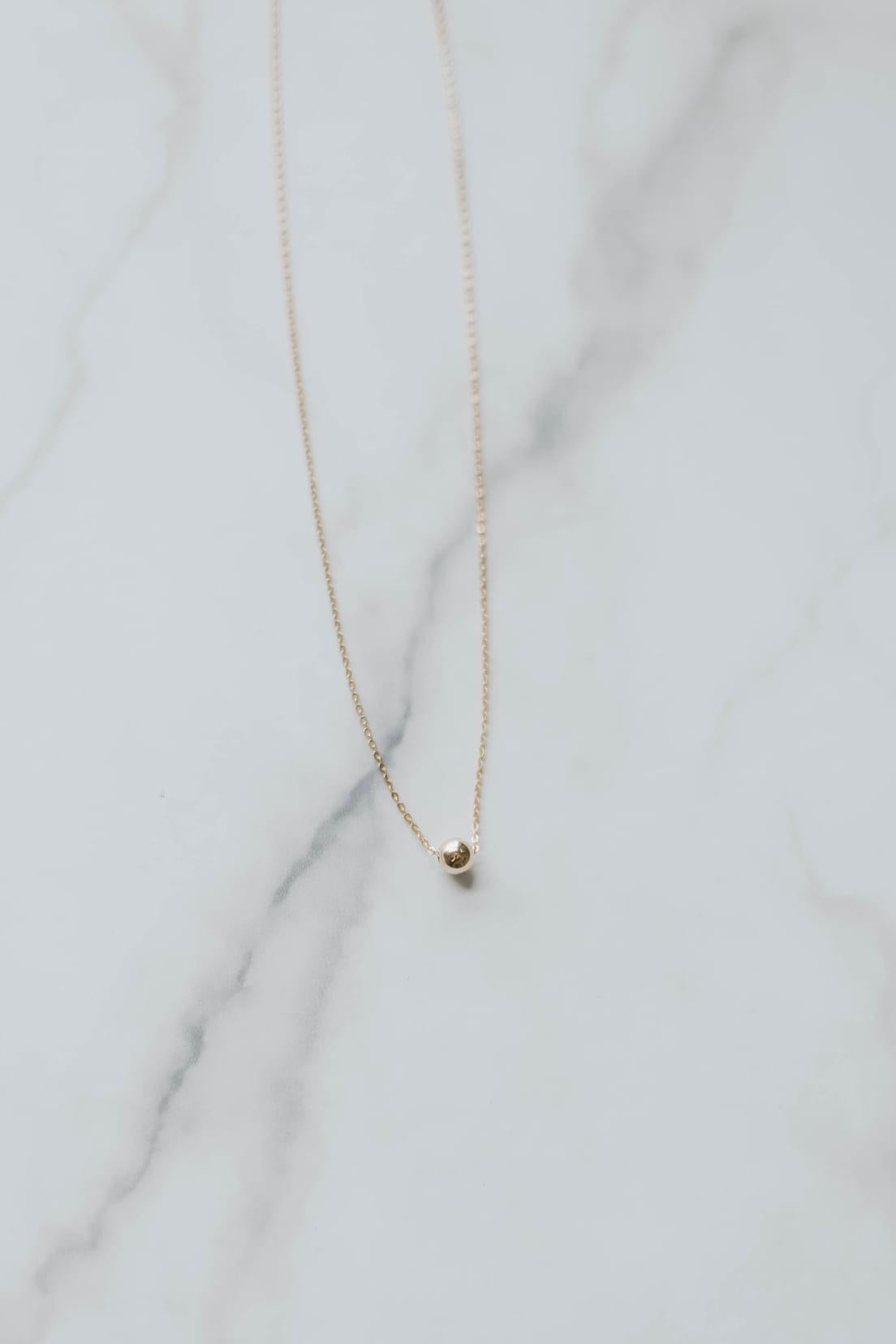 Tiny Gold Ball Necklace - 16