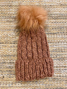 Cable Knit Beanie with Faux Fur Pompom - Teracotta