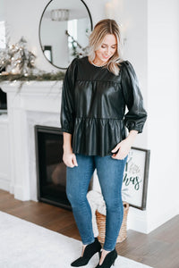 Faux Leather Babydoll Top - Black