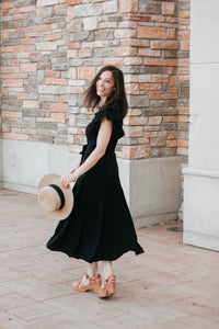 Black Belted Flutter Sleeve Midi Dress - The Julia