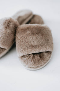 Fuzzy Slipper Slides, Grey
