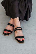 Load image into Gallery viewer, Square Toe Black Strappy Sandals