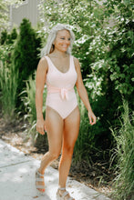 Load image into Gallery viewer, Soft Pink Ribbed One-Piece Swimsuit with Tie