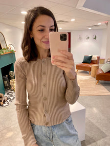 Collared Button Down Knitted Top, Taupe