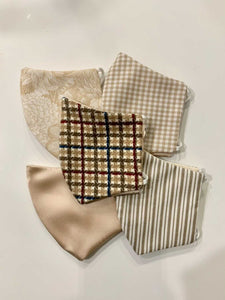 *PREORDER* Tan Gingham Cotton Mask