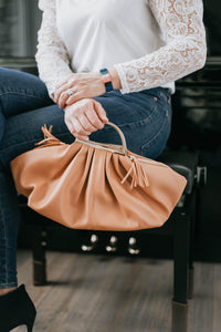 Faux Leather Wide Hand Bag - Tan