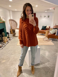 Pom Accent Knit Sweater, Saffron