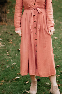 Dusty Rose Button-up Long Sleeve Midi Dress - The Golda