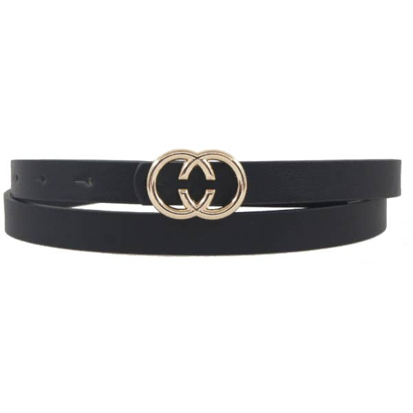Thin Black CC Belt