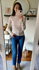 Sand Ribbed Knit Turtleneck