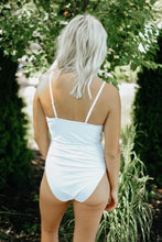Load image into Gallery viewer, White Ruffle One-Piece Swimsuit with Removable Belt