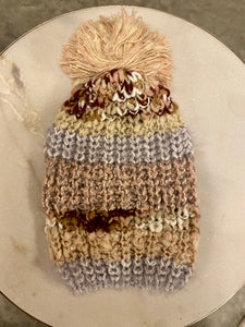 Metallic Shimmer Striped Knit Beanie - Blush