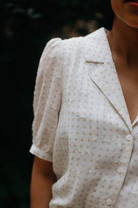 Floral Jacquard Button Down Blouse