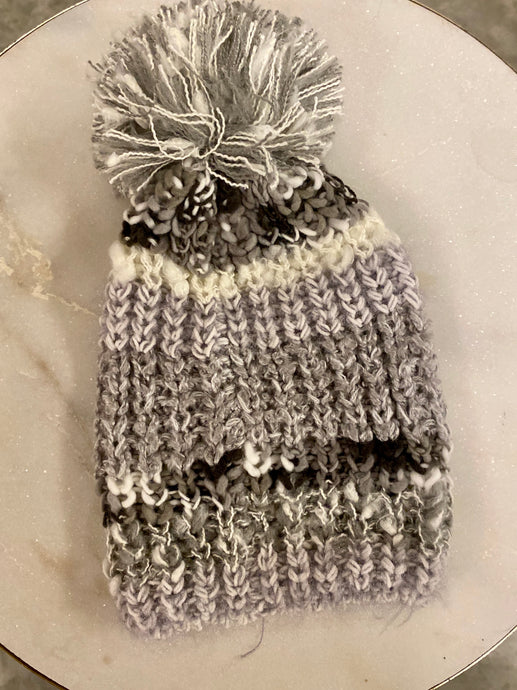 Metallic Shimmer Striped Knit Beanie - Grey