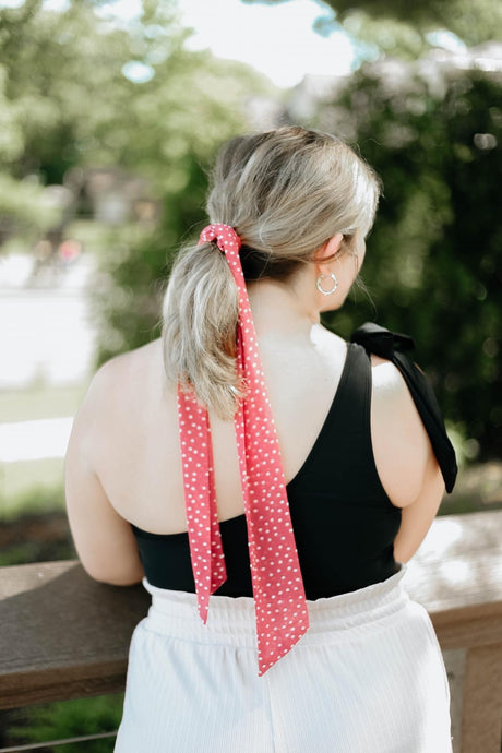 Pink Polka Dot Hair Scrunchie