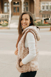 Heathered Brown Zip-up Vegan Sherpa Vest - The Eva