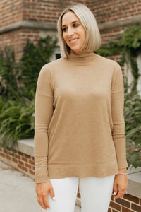 Turtleneck with Side Notches-Camel Color- The Whitney