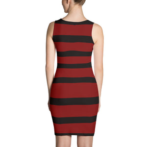 Crimson Black Stripe After Five Dress by RIFY WEAR