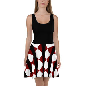 Crimson Black Women's Skater Dress by RIFY WEAR