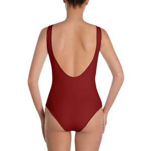 Crimson Black One-Piece Swimsuit by RIFY WEAR