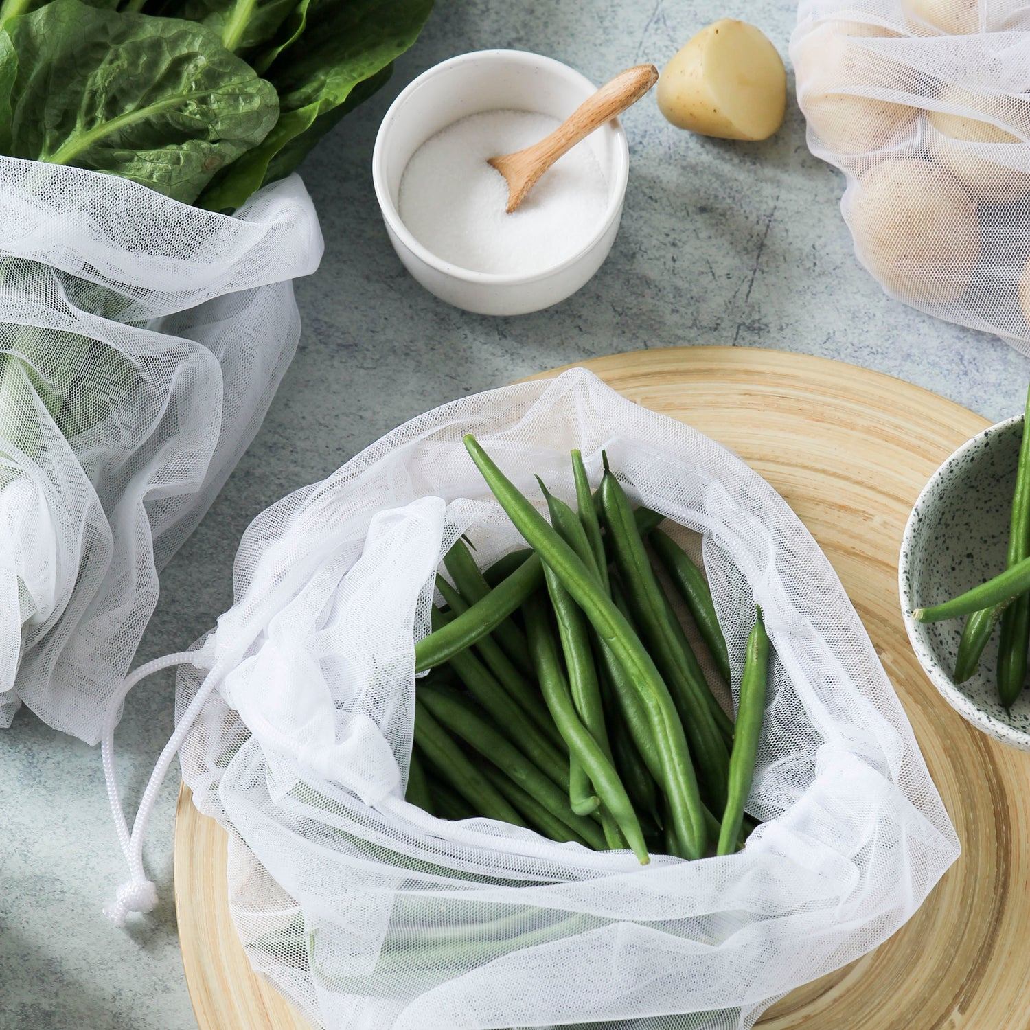 Reusable Produce Bags RPET Mesh 8 Pack