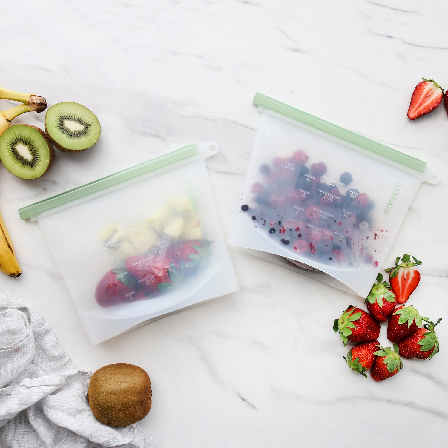 Ever Eco Reusable Silicone Food Pouches - 2 x 1L