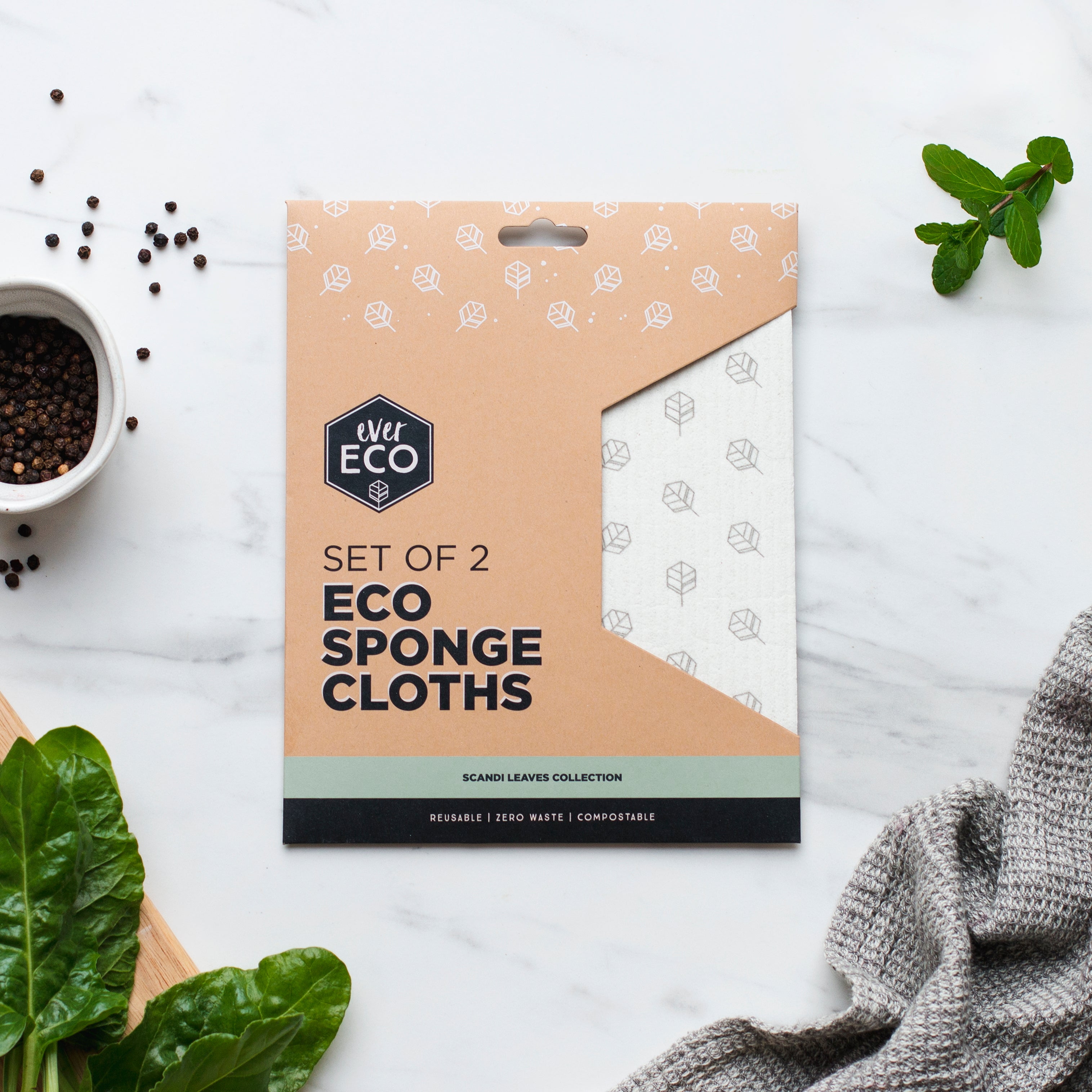 Ever Eco Sponge Cloths Scandi Leaves - 2 Pack