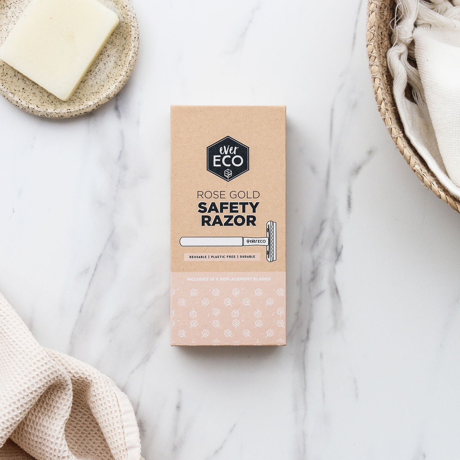 Ever Eco Rose Gold Safety Razor with Replacement Blades