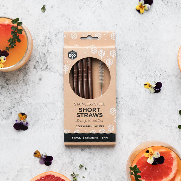 Ever Eco Rose Gold Short Straws Straight - 4 Pack