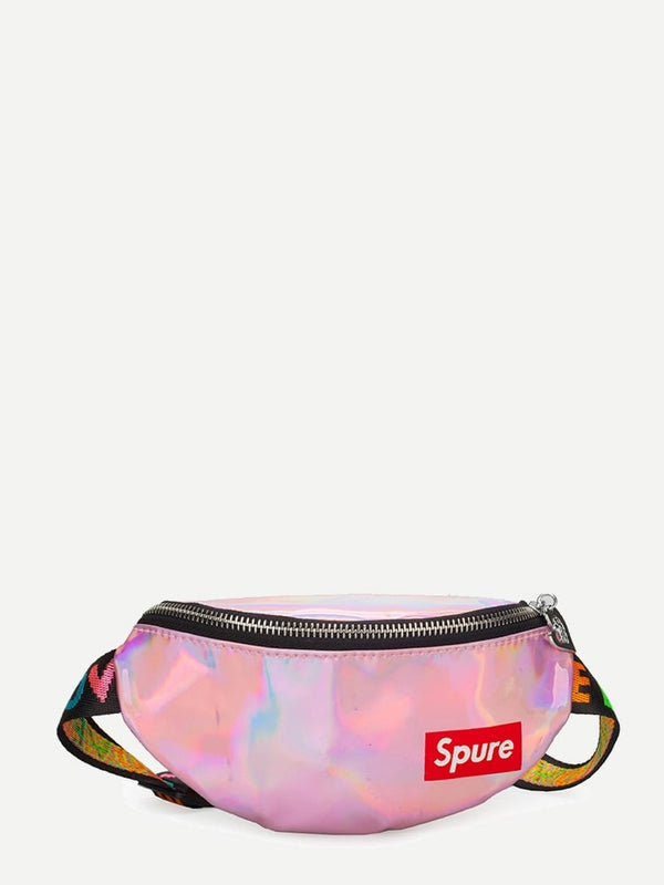 Kids Iridescent Slogan Patch Bum Bag