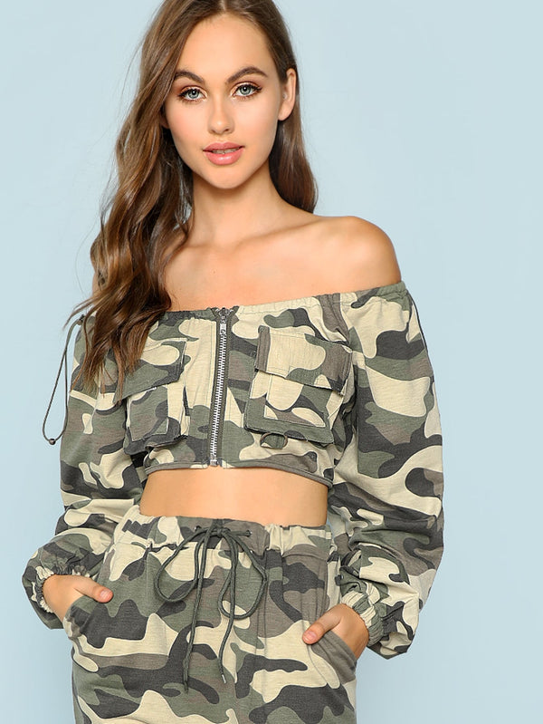 Off Shoulder Crop Camo Utility Jacket