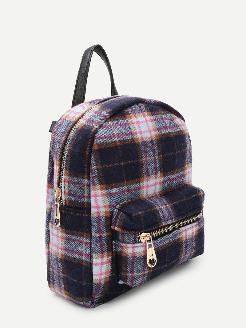 Kids Zipper Front Plaid Backpack