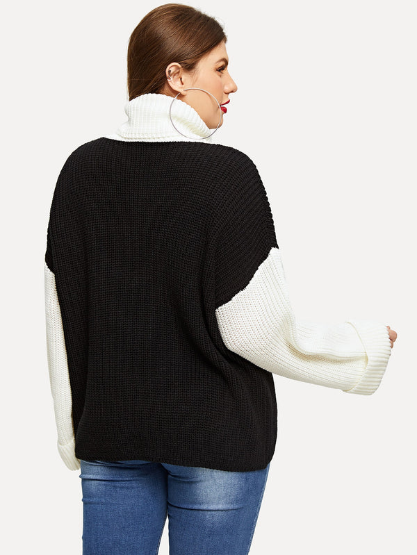 Plus Two-tone Drop Shoulder Sweater