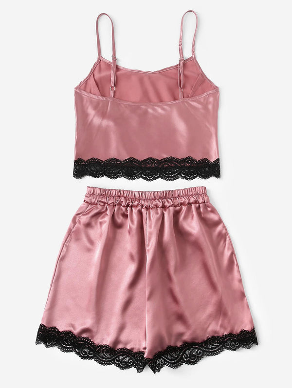 Lace Trim Satin Cami Top & Shorts PJ Set