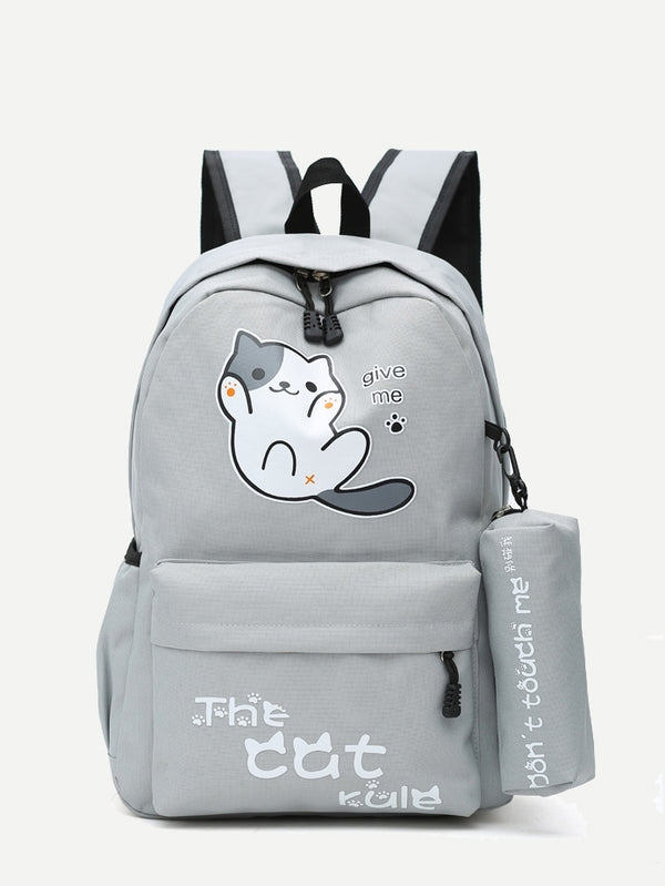Kids Slogan Print Backpack With Pencil Case