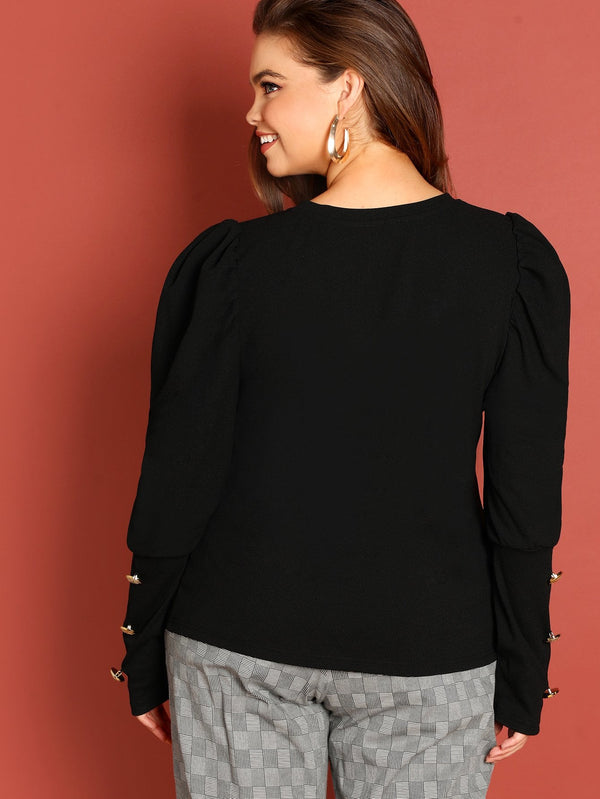 Plus Button Detail Puff Sleeve Tee